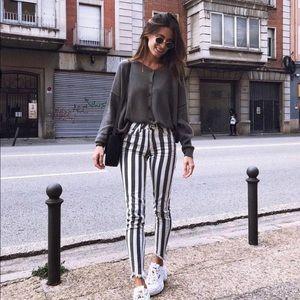 Black and White Stripe Jeans